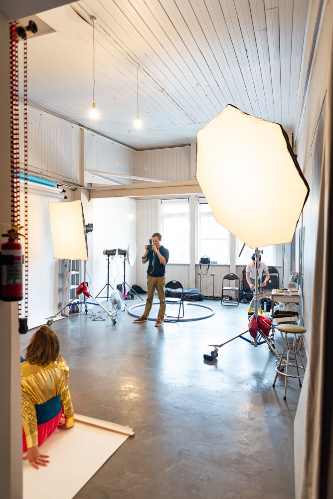 Courtenay Studio in use, with Elnchrom flash lighting, photo studio hire in Wellington CBD new Zealand, studio space for hire, Elinchrom studio flash units, Photography studio 37 Courtenay Place Wellington