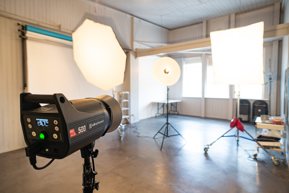 Studio interior with Elinchrom flash units, this Elinchrom equipment and more is included in the standard hire charge, Courtenay Studios, photographic studio hire, Wellington CBD, New Zealand