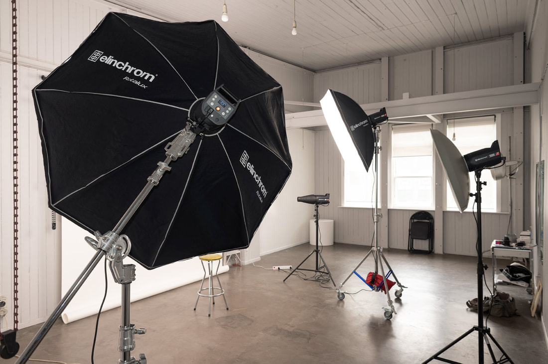 Courtenay Studio interior October 2019 with Elinchrom Pro HD 1000 and 175cm, Wellington photography studio for hire inclding Elinchrom Pro HD flash units and accessories, Courtenay Studios 37 Courtenay Place